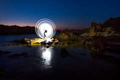 Tube light painting | Menorca, Spain (NicoTrinkhaus) Tags: lightpainting tubelight menorca balearic balearicislands photopills camp evening waterscape rocks spain island lighttrails
