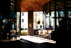 Cafe sun (nzcarl) Tags: nikon nikkor nikonf film filmcamera filmslr fuji fuji400 superia