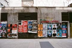 Urban II (jankaraika) Tags: urban architecture posters gorillaz nikon fg 20 fuji superia xtra 400