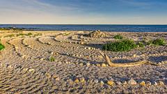 Beach Rock Circles (Alan Charles) Tags: ct connecticutshore hammonassetbeachstatepark hammonassetstateparkmeigspoint meigspoint seascape beach lateafternoon ocean rockcircles rockyshoreshore sea shore