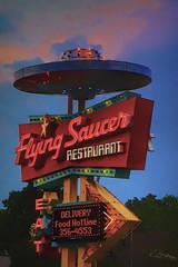 Flying Saucer (Vanessa wuz Here) Tags: 70mm 7dwf neonsigns signs niagarafalls niagara copyrightvanessabartosek