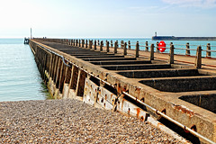Newhaven Harbour Arm (Geoff Henson) Tags: sea water ocean calm flat jetty pier lighthouse harbour port sky blue