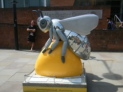 Manchester Bee - Bling Bee (rossendale2016) Tags: building sandstone parking park car modern orchestra bridgewater hall barbirolli station stop tram opposite massive open large conference next near hotel midland train rail railway old groups bands scene music nightlife life famous lib night hacienda madchester destination tourist artist srtistic clever icon september july sale for heritage industrial iconic shiny glossy sprayed painted fibre glass big tall colourful colour charity lancashire town city central centre art street manchester bee bling