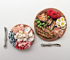 2 New Food Platters (MurderWithMirrors) Tags: platter food handmade polymer clay antipasto cheese eggplant pepper egg olives prosciutto ham bread knife 112 mwm