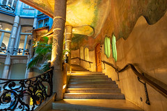 Casa Mila Foyer (fate atc) Tags: antonigaudi barcelona carrerdeprovenca casamila catalonia lapedrera passeigdegracia spain architecture avenue city entrance foyer modernist staircase building