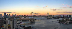 Tokyo Waterfront (B Lucava) Tags: tokyo tokyobay rainbowbridge sky bridge water waterfront urban city cityscape twilight sunset sea bay dusk skyline