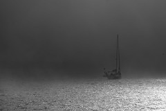 Sailboat in the fog of the mouth of the river Douro, in Porto. (eduardovales) Tags: nikonflickraward