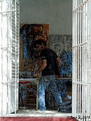 Le peintre (Jean S..) Tags: streetphotography man painter painting window art candid studio