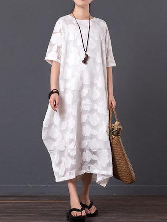a210c82d292 Casual Women Solid Color Dress Short Sleeve Oversize Maxi Dresses (1175975)   Banggood (