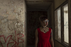 Fears (Nostalgicidio) Tags: fine art fineart photography photoshop photograph photo fantasy dark strange surreal different weird wow scary creepy conceptual cinematic beauty beautiful nightmare nature magic awesome girl feel mystery darkness women hotel ruins abandoned red hipster glasses graffiti