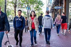 San Francisco 2018 (burnt dirt) Tags: sanfrancisco california vacation town city street road sidewalk crossing streetcar cablecar tree building store restaurant people person girl woman man couple group lovers friends family holdinghands candid documentary streetphotography turnaround portrait fujifilm xt1 color laugh smile young old asian latina white european europe korean chinese thai dress skirt denim shorts boots heels leather tights leggings yogapants shorthair longhair cellphone glasses sunglasses blonde brunette redhead tattoo pretty beautiful selfie fashion japanese bag red hoodie blue
