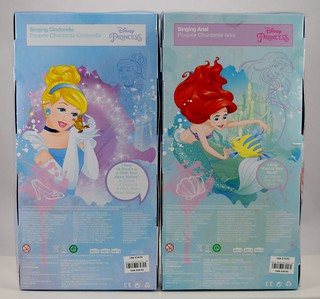 2018 Singing Cinderella and Ariel Dolls - Disney Store Purchase - Boxed - Rear View