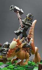 Breach (Smackdown) (Klikstyle) Tags: lego medieval castle knight dinosaur stygimoloch vignette battle