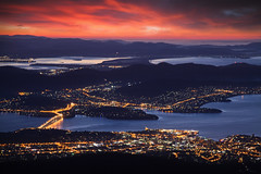 Mount Wellington Sunrise Views || HOBART || TASMANIA (rhyspope) Tags: australia aussie tas tassie tasmania hobart mount mt wellington view vista sunrise sunset city water sea ocean bay mountain valey sky clouds color colour travel tourist amazing cold rhys pope rhyspope canon 5d mkii bridge building urban