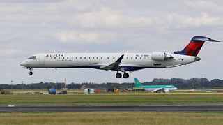 C-GIAU Bombardier CRJ-900 Delta Airlines Livery Landing at Dublin Airport Ireland on its way back from Farnbourough Airshow 19-7-18