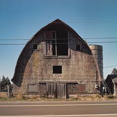 (el zopilote) Tags: 500 clatsopcounty oregon roads architecture rural barns agriculture powerlines yashicamat yashica yashinon80mmf35 tlr kodak ektar 120 6x6 film mediumformat