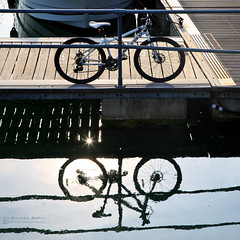 Tandem (RichardBeech) Tags: bike bicycle cycle tandem reflection upsidedown harbour weymouth dorset summer jetty sea water sun sunlight sunburst wheels square canon canon5dmarkiii canon24105mm