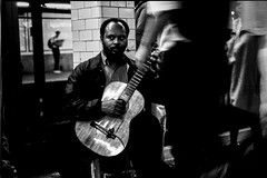 NY subway (rvjak) Tags: newyork ny film pellicule argentique noir blanc black white musician bw musicien guitare guitarist subway métro barbe