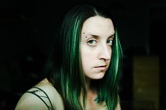 Selfie (Katherine Ridgley) Tags: selfie selfportrait portrait girl woman female green greenhair tattoo tattooes piercing pierced eyebrowpiercing pale white