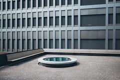 Hospitals eye (daN ⑰ (new topographics)) Tags: hospital architecture minimalistic luzern switzerland window red bench