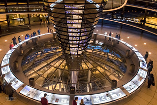 Interior of Reichstag dome at night