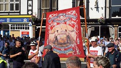 Prince of Wales (Rhubus) Tags: princeofwales colliery mine yorkshire pride strong unity unions coalmining banner suspend street march band sunny hot gathering countydurham durhamcity england uk