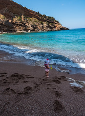 Summertime (free3yourmind) Tags: summer time baby girl beach sea kythera kythira greece waves blue green water sand