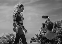 Lady Boy and the Strut (Corbicus Maximus) Tags: ladyboy southsea portsmouth clarenceparade thaifestival southseathaifestival monochrome nikon d7200 18140mm lightroom niksilverfxpro2 performance