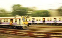Suburban panning (Debmalya Mukherjee) Tags: mumbai mumbaisuburbanrailway panning speed trains railway debmalyamukherjee canon550d 18135