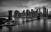 New York New York (B&W) (Gary Walters) Tags: newyork sunset sel1635z water cityscape a7r clouds brooklyn wtc longexposure nyc sky financialdistrict sony freedomtower bridge downtown unitedstates us