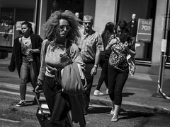 Temporary Crossing (Leanne Boulton) Tags: people urban street candid portrait streetphotography candidstreetphotography candidportrait streetportrait streetlife dutchangle woman female girl face expression mood hairstyle sunglasses wind windy sunny weather crossing tone texture detail depthoffield naturallight outdoor sunlight light shade shadow city scene human life living humanity society culture canon canon5dmkiii 70mm ef2470mmf28liiusm black white blackwhite bw mono blackandwhite monochrome glasgow scotland uk