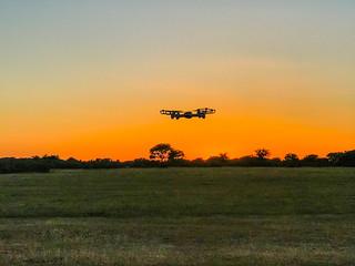Drone flying at RAF Harrowbeer, Dartmoor