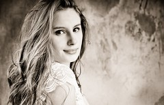 Emeline-4 (phonia20) Tags: sepia look face beauty girl woman monochrome studio beautiful sexy smile regard pentax pentaxart