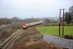 Llandevenny 77376 (kgvuk) Tags: railways trains southwales llandevenny locomotive diesellocomotive southwalesmainline bishtonflyover class66 66230 dbcargo severnaggregator railtour class60 60001