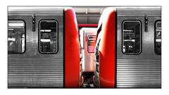 the train (j.p.yef) Tags: peterfey jpyef yef train metro empty station monochromewithred traffic germany hamburg photomanipulation selectivecolor ubahn