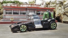 The Martian car. (ManOfYorkshire) Tags: mars martian car auto automobile scale model toy hotwheels diecast 164 diorama diner custom hotrod soupedup