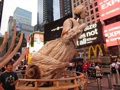 Ship Figurehead Lady Sculpture Times Square NYC 5560 (Brechtbug) Tags: wake unmoored sculptures by artist mel chin climate change themed art times squre midtown manhattan 2018 nyc july 07172018 figurehead lady ship statue boat construction ribs sunken shipwreck artwork wood woodlike carved carving historic past history