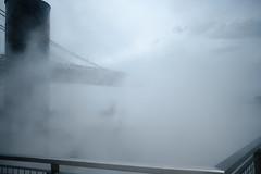 Fog Bridge at Domino Park (Zach K) Tags: mist fog domino park dominopark brooklyn nyc new york city nycpark parks publicspace fujifilm fuji xt2 xf23mm foggy hard see lovely williamsburg bridge twotrees moody unsharpen