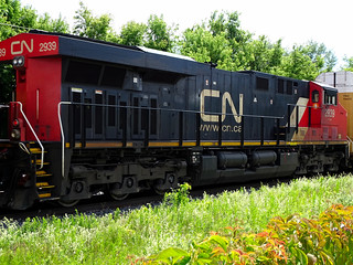 CN 2939 GE ES44AC Center Slave Unit On Eastbound Train In Oshawa