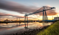 The Transporter Bridge Summer Solstice (Dean Conley) Tags: nikon nikond7200 tokina1120mmf28 wideangle longexposuer leefilters bigstopper 10stopndfilter 10stopneutraldensity leebigstopper transporterbridge river rivertees middlesborough portclarence summersolstice reflections sunset dslr photography mirror ice glass boat sky clouds teesside