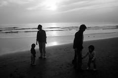Jeu de gris (maxguitare1) Tags: contrejour contraluz personnes gente gens enfants noiretblanc blackandwhite ninos plage playa mer mar sea sable eau agua acqua water méditerrannée gard france