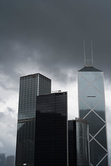 HK Buildings in Rain (Winedemonium2) Tags: hong kong central district city cityscape rain dark clouds stormy china bank citic almost monochromatic