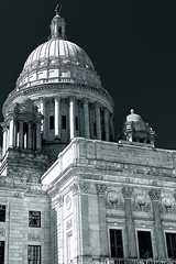 Rhode Island State House Dome Detail (iecharleton) Tags: rhodeisland statehouse providence architecture building dome neoclassical marble stone tower politics government historic blackandwhite monochrome