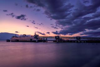 Sunset over the Edmonds Ferry, Edmonds, Washington