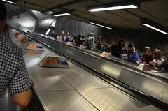 Westminster is deep underground (afagen) Tags: london england uk unitedkingdom greatbritain londonunderground underground tube thetube subway transit westminster subwaystation escalator