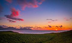 Dinas Dinlle (lowribearmanphotography) Tags: beach sunset sky coast mountain clouds mountains colour wales cymru