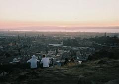 City watchers (sam.naylor) Tags: rolleicord rollei tlr portra 400 vc expired film sunset scotland edinburgh bright sunlight sun warm vivid colour medium format