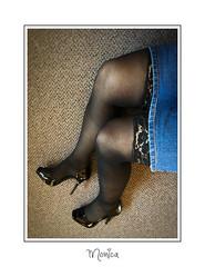 Heels, Hose and a Skirt (Monica E Lopez) Tags: skirt heels highheels stiletto hose stockings nylons tights denim androgyny androgynous sissy tg ts tv tgirl trans transexual transgender transsexual transvestite genderbender gurl m2f mtf feminization crossdress crossdresser femme feminine feminized hrt hormones passable