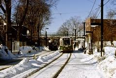 MBTA PCC 3294 BV LRV3423 Beaconsfield Sta 2-8-1977 (ironmike9) Tags: trolley streetcar tram pcc transit publictransit track rail lightrail mbta lrv brooklinema