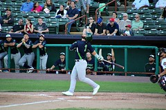 POP UP (MIKECNY) Tags: dugout nypennleague minorleague vermontlakemonsters as hit hitter swing catcher